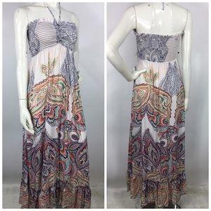 Akualani Smocked Bust Paisley Print Maxi Dress